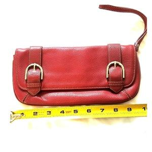 Loft red leather clutch